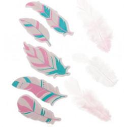Любимые оттенки шебби, набор перышек для творчества, 3 натуральных + 5 бумажных АртУзор