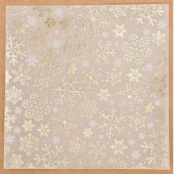 Снежинки, калька декоративная c фольгированием 15х15см SL