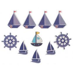 Морской, набор декоративных элементов 10шт. 3,3х3,3см дерево АртУзор