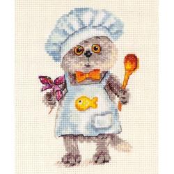 Басик шеф повар, набор для вышивания крестиком, 10х14см, 20цветов Алиса