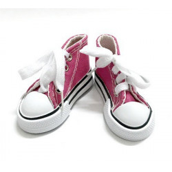 Кеды малиновые на шнурках, длина стопы 7,5см высота 4см. Кукольная обувь