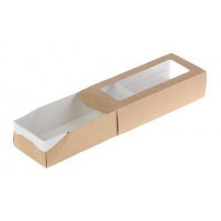 Пенал, прямоугольная коробка картонная крафт с окошком 17х7х4см