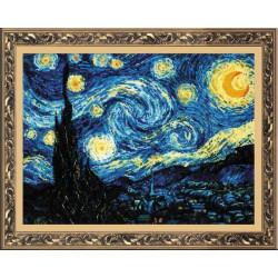 Звёздная ночь.Ван Гог, набор для вышивания крестиком, 40х30см, нитки шерсть Safil 26цветов Риолис
