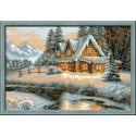Зимний пейзаж, набор для вышивания крестиком, 38х26см, нитки шерсть Safil 17цветов Риолис