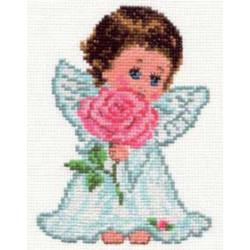 Ангелок любви, набор для вышивания крестиком 10х14см 14цветов Алиса