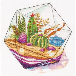 Флорариум, набор для вышивания крестиком, 20x20.5см, 32цвета Panna