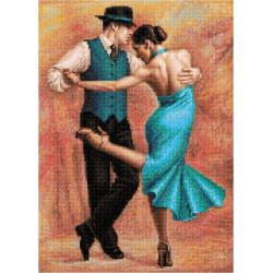 Танцующая пара в голубом, набор для изготовления мозаики круглыми стразами 36х50см полная выкладка
