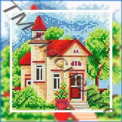 Домик с башеней, набор для изготовления мозаики круглыми стразами 25х25см 13цв. полная выкладка