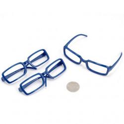 Очки без стекла, синие 8см прямоугольные, пластик