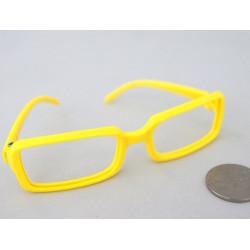 Очки без стекла, желтые 8см прямоугольные, пластик