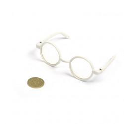 Очки со стеклом белые, пластик, 9,5см, круглые диаметр 3см