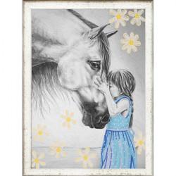 Девочка и лошадь, ткань с рисунком для вышивки бисером 39х29см. Конёк