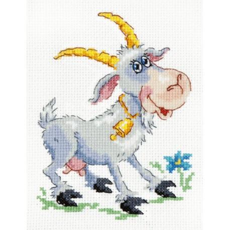 Коза-дереза, набор для вышивания крестом 11х14см мулине хлопок 17цв. канва Aida№14 ЧИ