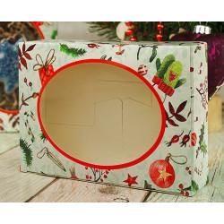 Акварельный новый год, коробка горизонтальная с окошком 15,5х11х4см