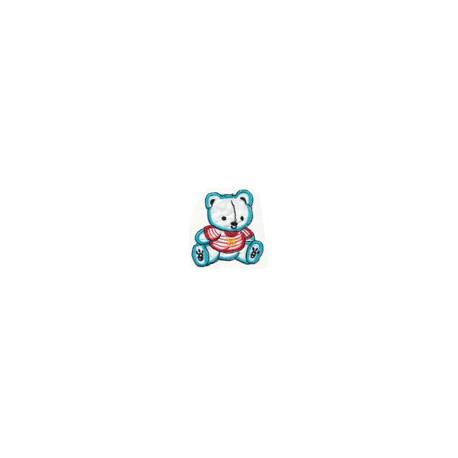 Мишка в матроске белый, 7.8х7.5см, аппликация на клеевой основе