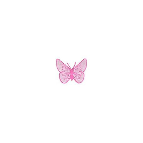 Бабочка розовая, 5х6.5см аппликация на клеевой основе