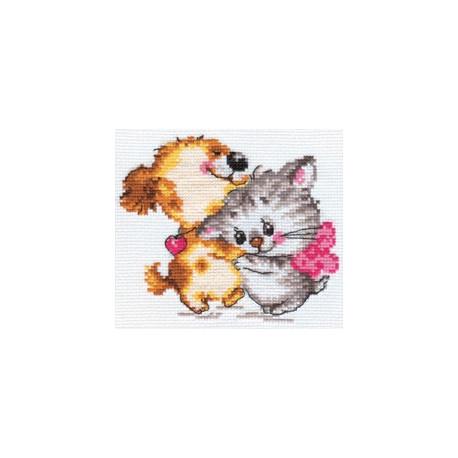 Обожаю, набор для вышивания крестиком 14х11см 12цветов Алиса