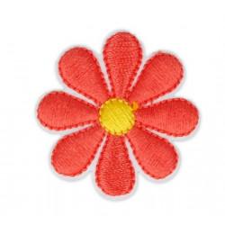 Цветок красный, 3.5х3.5см, аппликация на клеевой основе