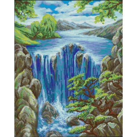 Водопад среди скал, набор для изготовления картины стразами 40х50см 36цв. полная выкладка АЖ