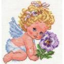 Ангелок счастья, набор для вышивания крестиком 12х14см 16цветов Алиса