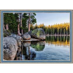 Озеро в Карелии, набор для изготовления картины стразами 70х50см 41цв. полная выкладка АЖ