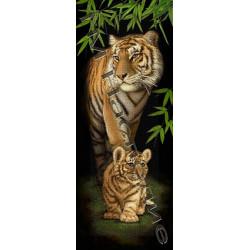 Тигрица с тигренком, набор для изготовления мозаики круглыми стразами 36х50см полная выкладка