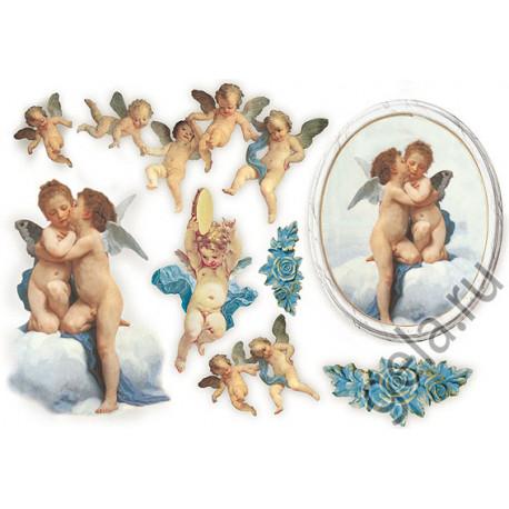 Ангелы и Купидоны, бумага рисовая для декупажа 48х33см 28г/м? Stamperia