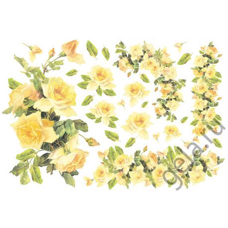 Желтые розы, бумага рисовая для декупажа 48х33см 28г/м? Stamperia