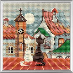 Город и кошки.Весна, алмазная мозаика 20х20см 14цв.квадратные стразы, полная выкладка Риолис