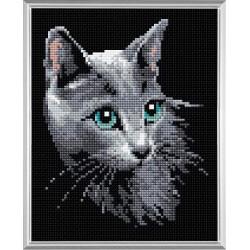 Русская голубая, алмазная мозаика 20х25см 11цв.квадратные стразы, полная выкладка Риолис