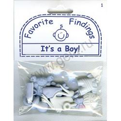 IT'S A BOY!, пуговицы 7-25мм 7шт., Favorite Findings