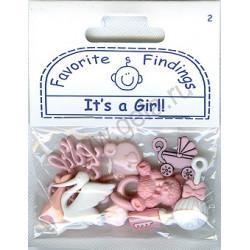 IT'S A GIRL!, пуговицы 7-25мм 7шт., Favorite Findings