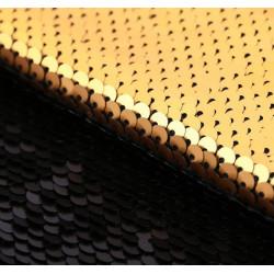 Матовая черная-золотая, ткань для рукоделия двусторонняя из пайеток 33х33(±2см) SL