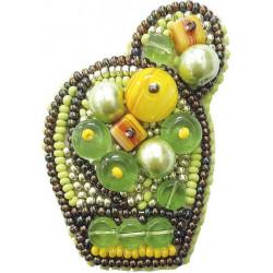 Яркий кактус, набор для изготовления броши из бусин и бисера, 4х6см Брошь ЧМ