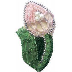 Тюльпан, набор для изготовления броши из бусин и бисера, 4х7см Брошь ЧМ