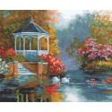 Лебединый рай, набор для вышивания крестиком, 33х25см, 30цветов Алиса