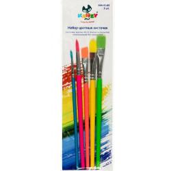Набор цветных кисточек, синтетика 5шт короткая ручка KANZY