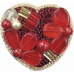 Сердце, набор для изготовления броши из бусин и бисера, 5х5см Брошь ЧМ