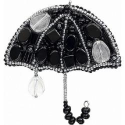 Вечерний дождик(зонтик), набор для изготовления броши из бусин и бисера, 7.5х7см Брошь ЧМ