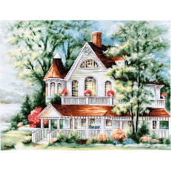 Дом у озера, набор для вышивания крестиком, 37х28,5см, 50цветов, Aida16 Luca-S