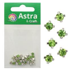 Зеленый круглые, стразы стеклянные в серебряных цапах 4мм 29-30шт Астра