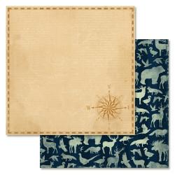 Курс на счастье, коллекция Дневник туриста, бумага для скрапбукинга 30,5x30,5см 180г/м ScrapMania