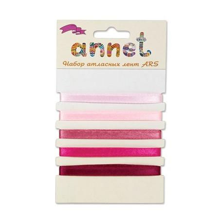 Розовый, набор атласных лент ширина 6мм, 5шт по 1м , Annet