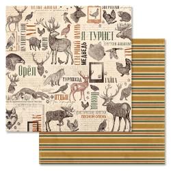 Фауна, коллекция Дневник туриста, бумага для скрапбукинга 30,5x30,5см 180г/м ScrapMania