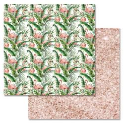 Затеряный рай, коллекция Роскошный фламинго, бумага для скрапбукинга 30,5x30,5см 180г/м ScrapMania