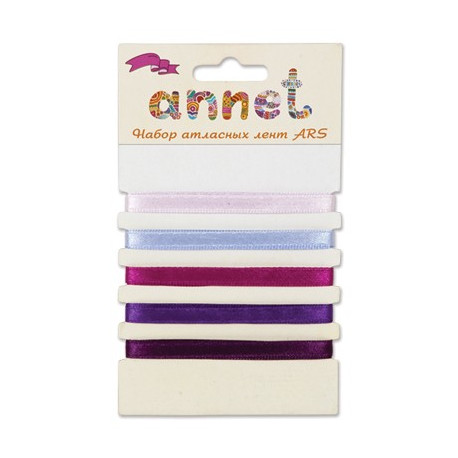 Фиолетовый, набор атласных лент ширина 6мм, 5шт по 1м , Annet