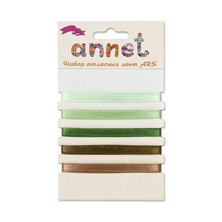 Зеленый, набор атласных лент ширина 6мм, 5шт по 1м , Annet