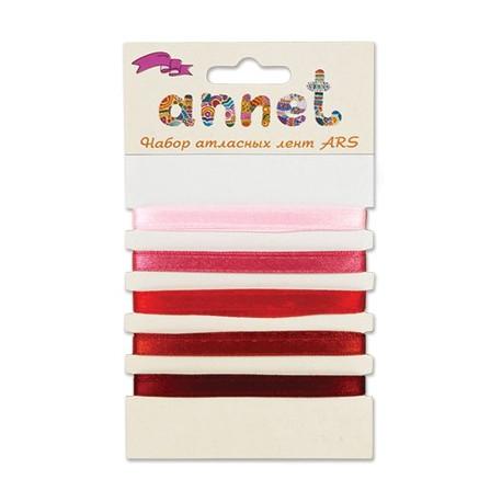 Красный, набор атласных лент ширина 6мм, 5шт по 1м , Annet
