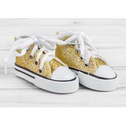Кеды с золотыми блестками, длина стопы 7,5см. Кукольная обувь