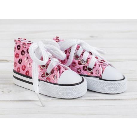 Кеды нежно-розовые с пайетками, длина стопы 7,5см. Кукольная обувь